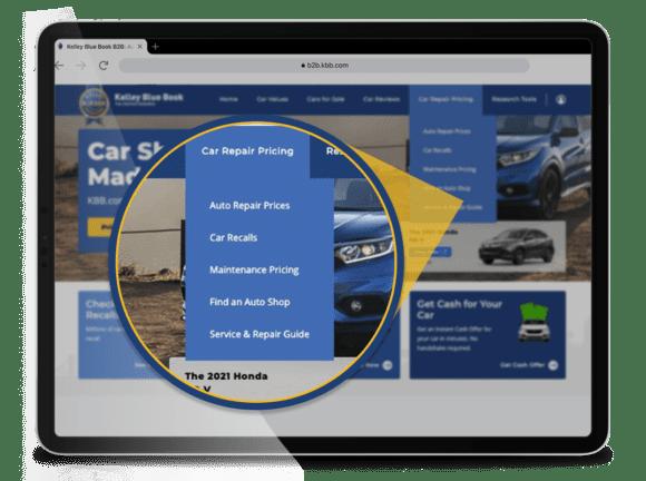 KBB.com Car Repair Pricing section website menu