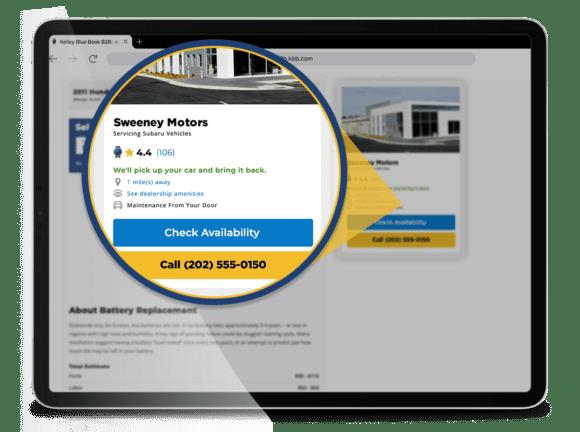 dealer details on Featured Auto Repair Center Dealer Card