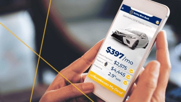 consumer sees down payment, trade-in and financing details on Accelerate My Deal digital retailing on KBB.com