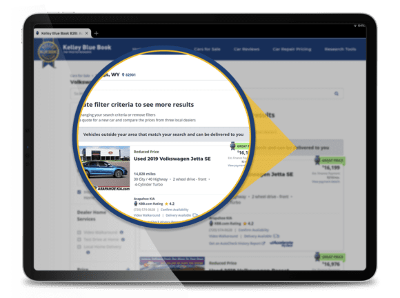 close-up of Market Extension on KBB.com, the option to see vehicles that match the shopper's criteria and can be delivered