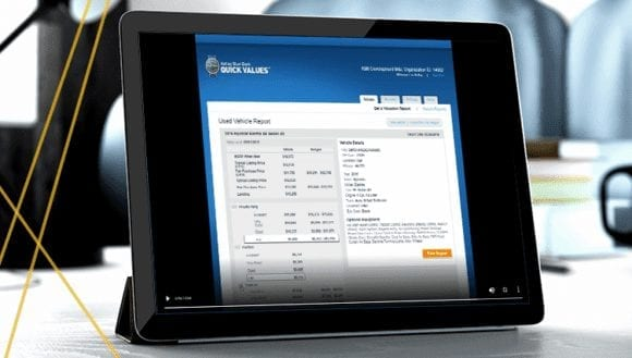 Quick Values user interface on a tablet