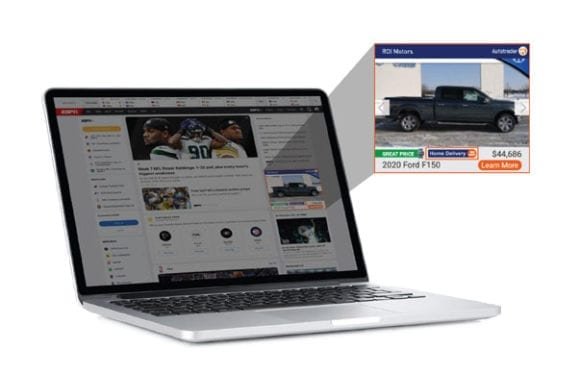 black truck shown in Advanced Ads vehicle display advertising on KBB.com