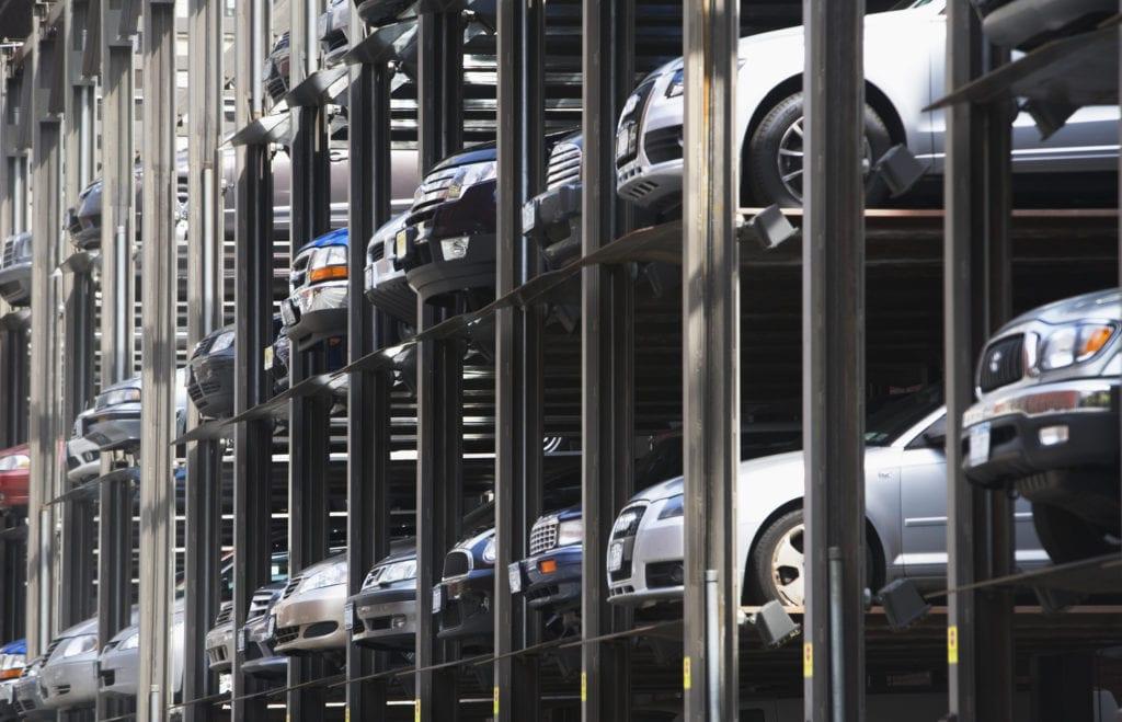 new vehicles in storage rack