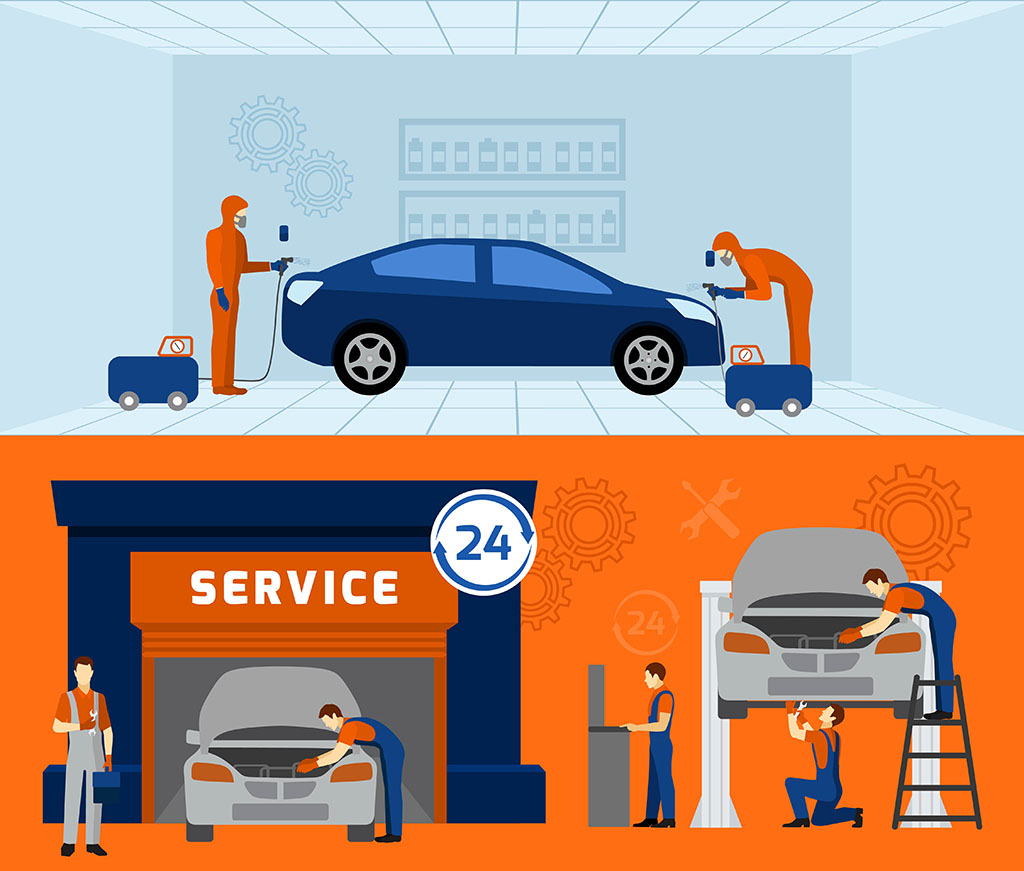 Mechanics servicing vehicle