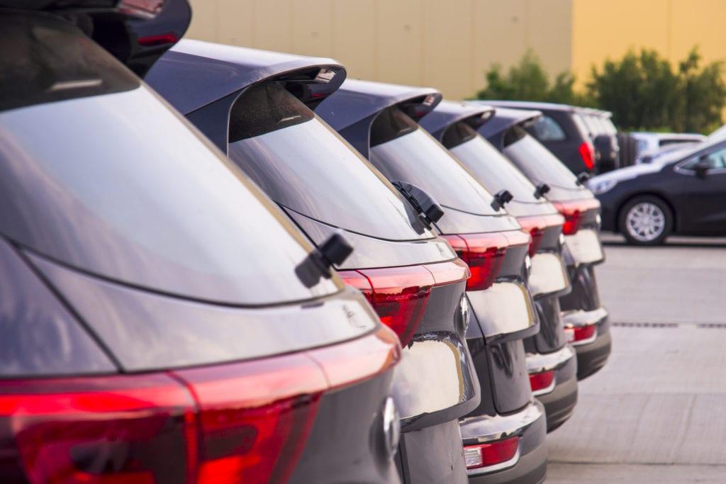 New vehicles on dealership lot
